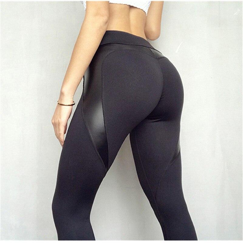 NORMOV Fitness Leggings Leather Leggings Women High Waist Black Heart Pants Keep Slim Fashion Push Up leggins  gothic Christmas