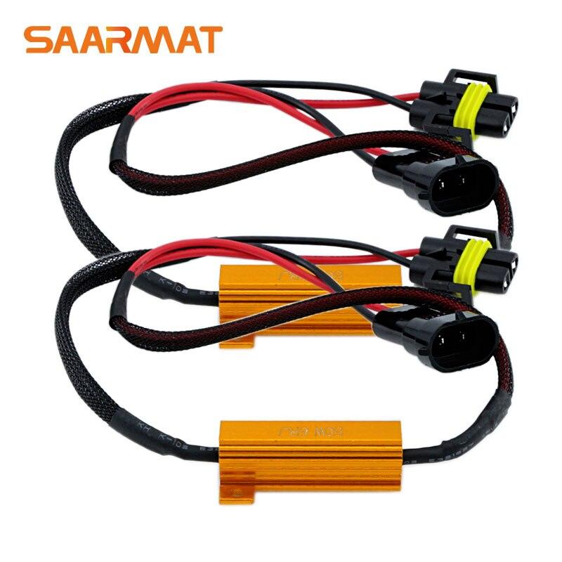 2x H11 H9 H8 For LED Light Headlight Fog Lamp DRL CANBUS Decoders No Error Load Resistors Wiring Harness Socket