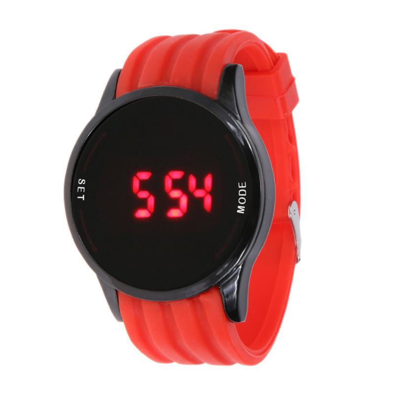 Nuevo reloj para hombre de moda pantalla táctil LED superficie Circular patrón fecha silicona muñeca negro reloj digital relogio masculino saat