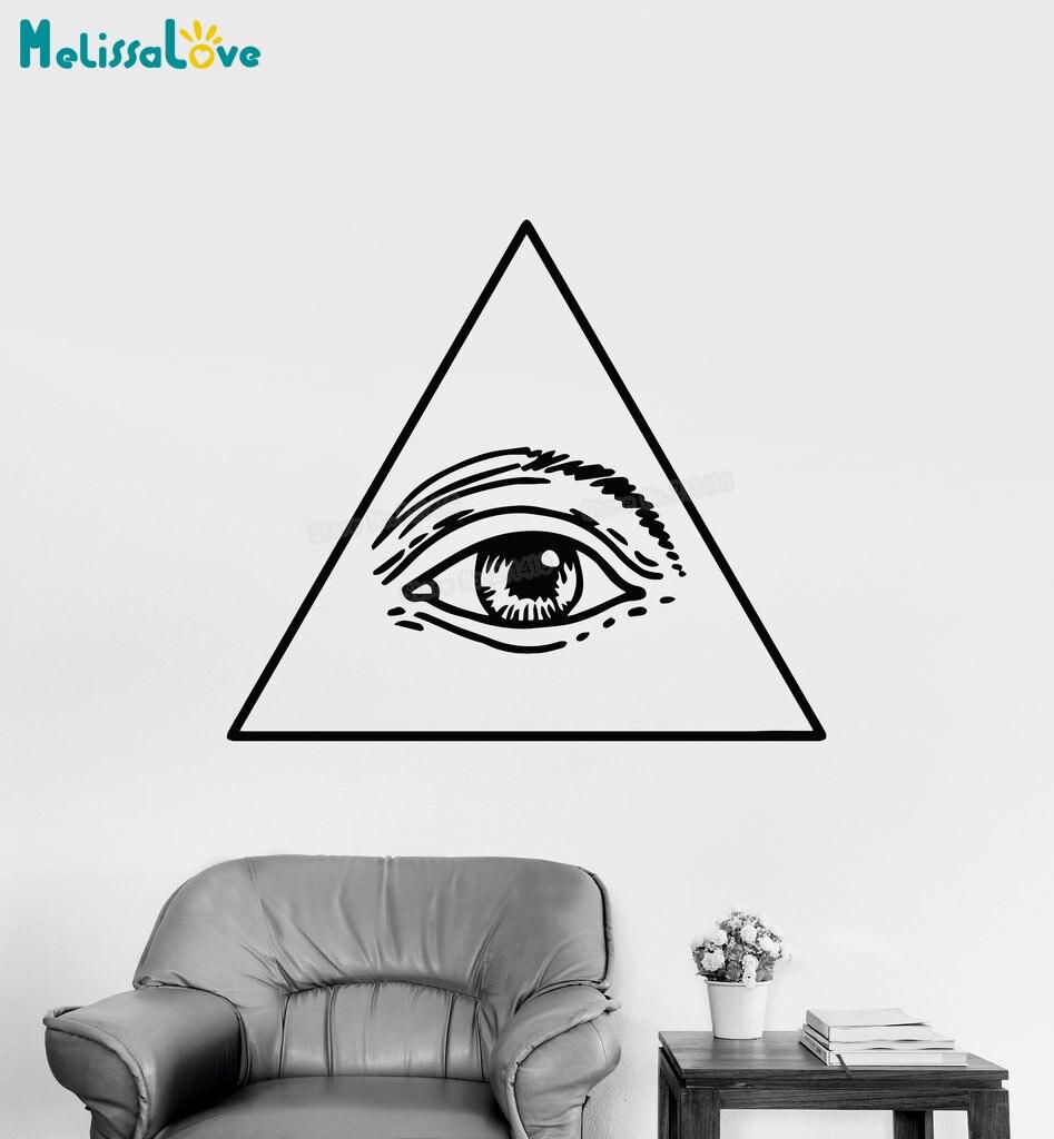 Calcomanía de vinilo para pared símbolo masónico dólar ojo de la Providencia pegatinas de pared decoración del hogar Sala Roon arte especial regalo único YY725
