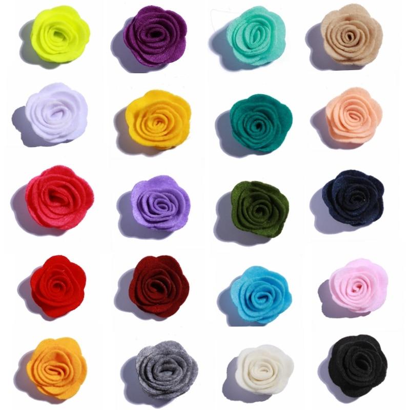 10 Uds., 4CM, tela no tejida decorativa para recién nacidos, fieltro, flores rosas para adorno de boda, flor Artificial para el jardín del hogar