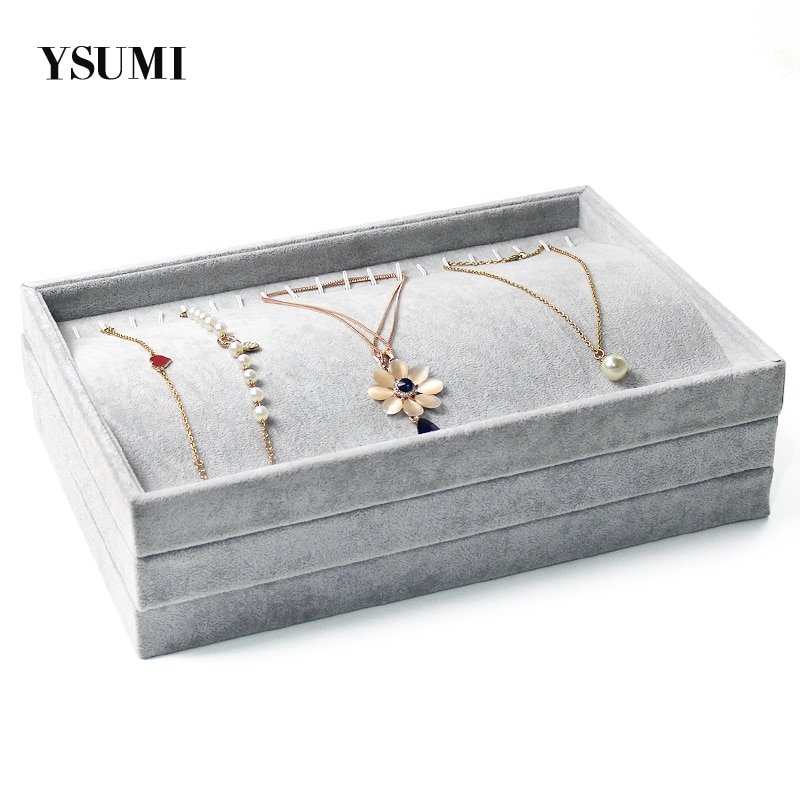 YSUMI  Gray Velvet Bracelet Necklace Pendant  Hand Catenary Jewelry Tray Plate Holder Jewelry Display Stand Organizer 7 pieces lot modern white pu leather flower jewelry display cabinet wooden pendant necklace earring plate tray display board