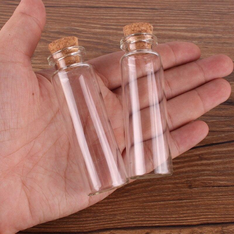 50 قطعة 18 مللي حجم 22*70*12.5 مللي متر زجاجة عطر صغيرة زجاجات توابل قوارير الجرار الصغيرة مع سدادة الفلين قلادة الحرف هدية الزفاف