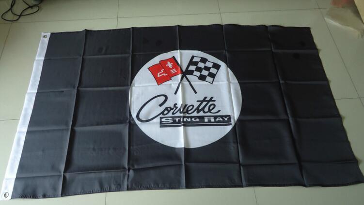 Corvette stingay black flag, 90X150 CM größe, 100% polyster kostenloser versand