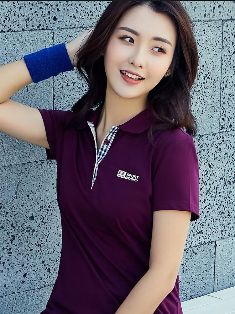 2020 solapa nueva camiseta de manga corta Mujer verano algodón tamaño grande cuello chaqueta deporte media manga mujer polo