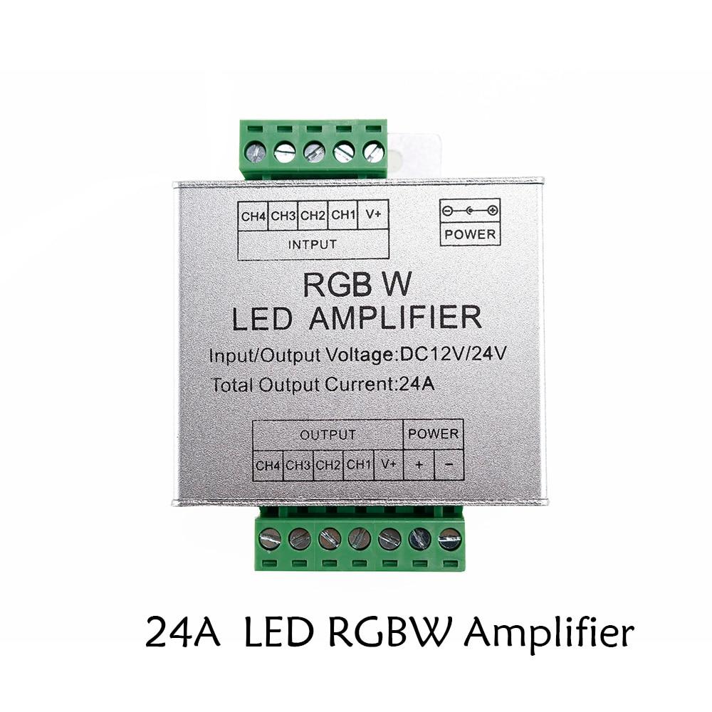 24 a LED RGBW amplificador DC12 DC24V 6*4 canales de salida RGBW RGB + W LED tira de potencia repetidor consola controlador de aluminio Shell 1 Uds