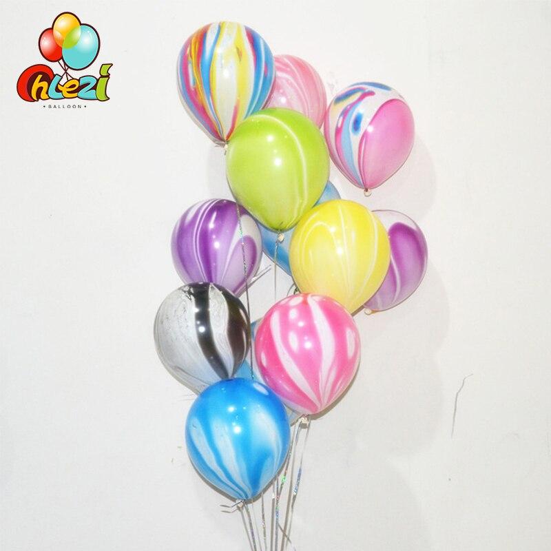 10 Uds 3,5g globos de látex mármol decoración de boda ágata nube colorida globo de látex Baby Shower adornos fiestas de cumpleaños