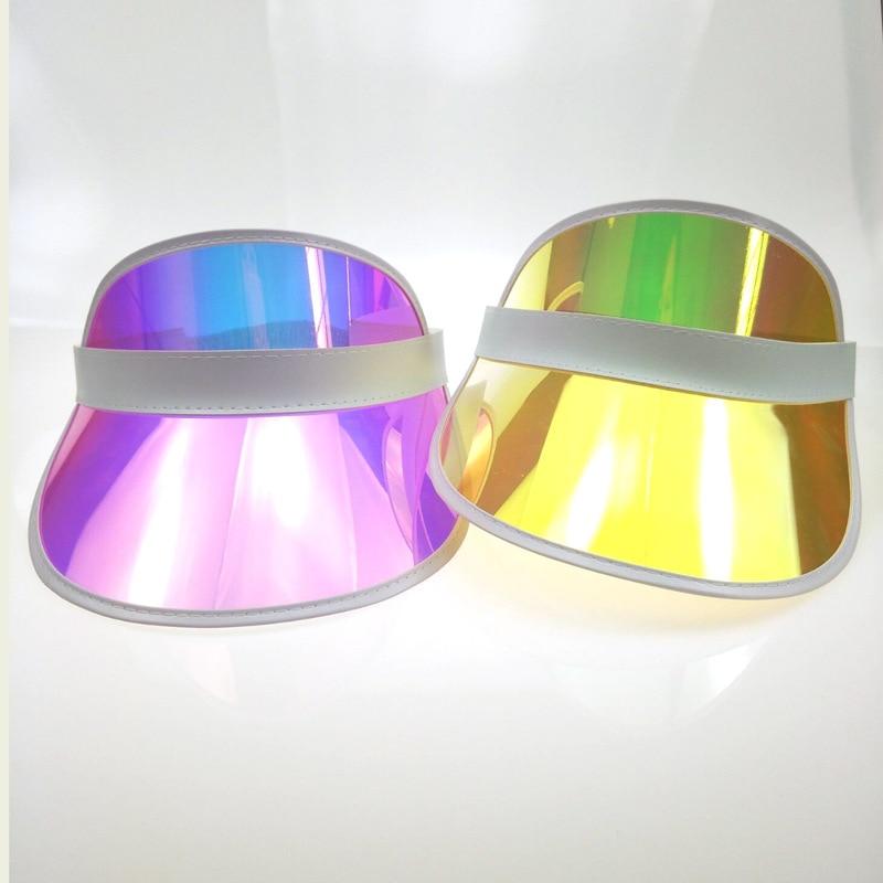 2019 PVC Transparent Visor Color Light Women Summer Hats Plastic Visor Summer Visor Fashion Hat Beach Hat Lady