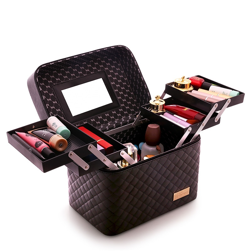 Ladies New High Quality Big Capacity Cute Portable Cosmetic Cases Storage Box Simple Make Up Box  Fashion Lady Waterproof Travel