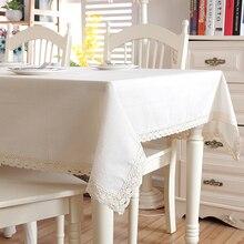 Nappe de Table à café lavable en coton   Lin de noël, coton épais, ourlet en dentelle blanche, tissu de Table pour Banquet de mariage