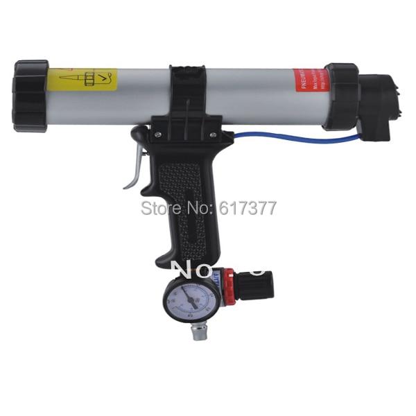 310ml pneumatic caulking gun with air pressure gauge/cartridge type pneumatic caulking gun/cartridge pneumatic silicone gun