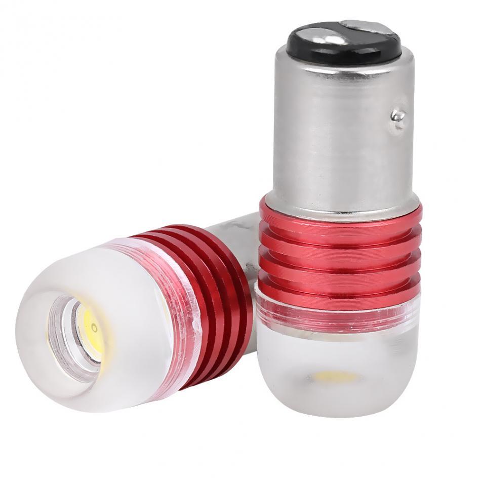 2pcs White 1157 2357 Strobe Flashing LED Projector Bulbs For Car Tail Brake Lights DC 12V Auto Stop Light