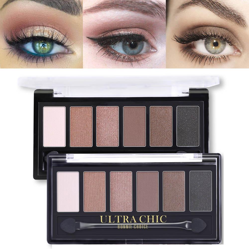 BONNIE choix 6 couleurs fard à paupières Palette glamour Smokey ombre à paupières miroitant couleurs mates Kit de maquillage cosmétiques