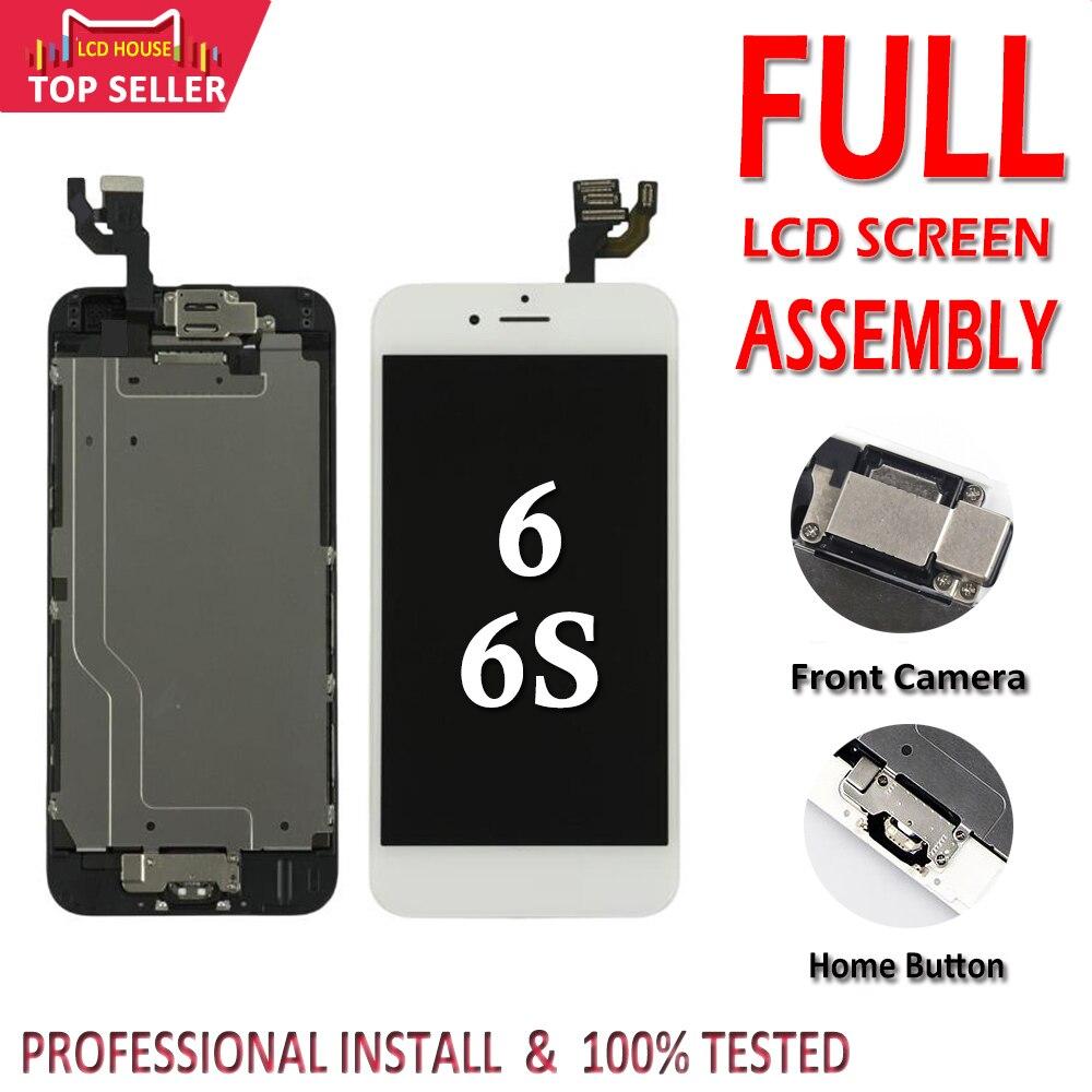100% conjunto completo de tela para o iphone 6 s lcd montagem completa 3d touch id completa substituição display + câmera frontal botão casa