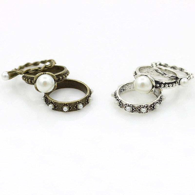 Retro plateado y bronce pequeño blanco Bola de perlas simulada anillos para las mujeres de moda Vintage anillo 3 unids/set
