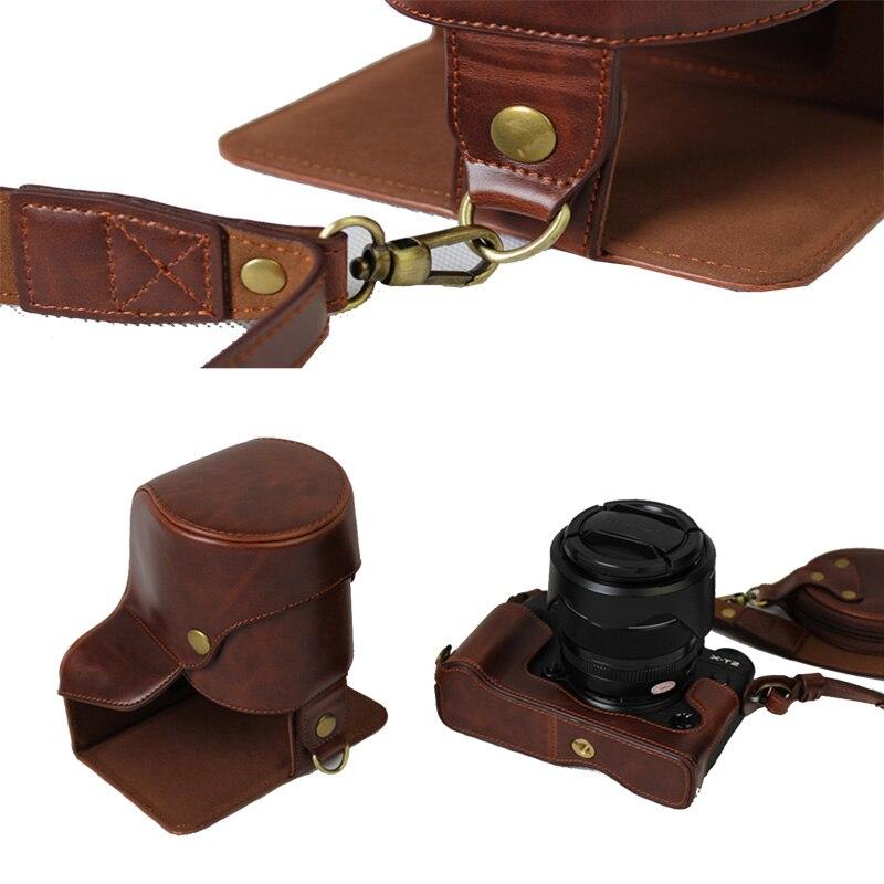 Novo Luxo PU LEATHER Camera Case Bag Para Fujifilm FUJI XT2 X-T3 XT2 XT3 18-55 18-135 lente Com Alça projeto da bateria Aberto