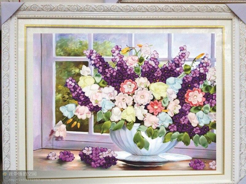 Needlework, Conjuntos para Bordado kit DIY Da Fita do ponto da Cruz, belo Roxo vaso de flores handwork de Ponto-Cruz decoração da casa