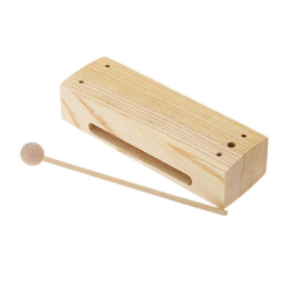 Gran oferta de bloques de madera de percusión con Mazo, instrumento de percusión de juguete Musical para niños, chico exquisito