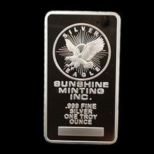 2 pcs Non Magnetic Sunshine minting coin brass core 1 OZ silver plated ingot badge 50 mm x 28 mm souvenir home decoration bar