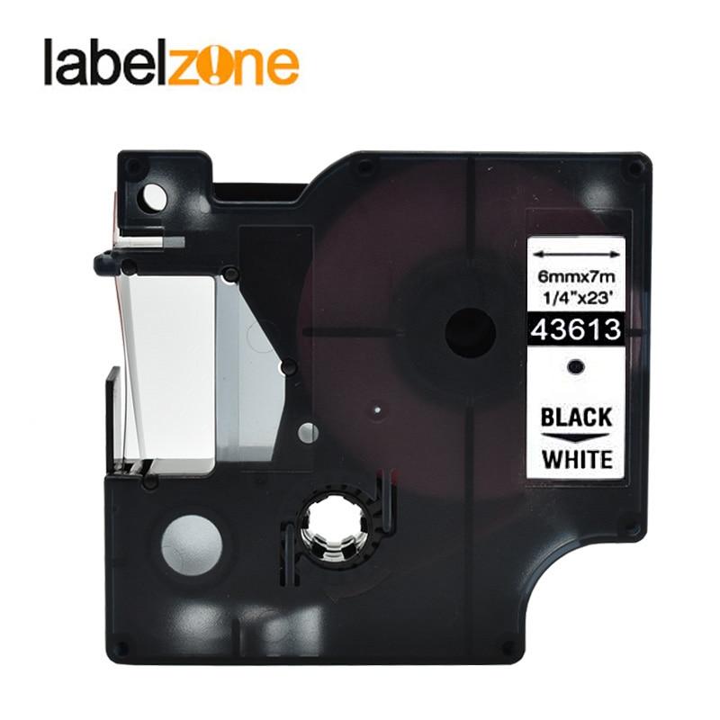 """1 PC 43613 de 1/4 """"(6mm) x 23"""" (7 m) negro sobre blanco compatible Dymo D1 PNP 6mm impresoras de etiquetas D1 43613 dymo etiqueta gerente LM160"""