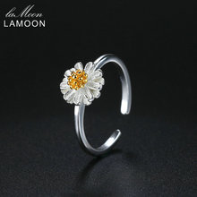 LAMOON 2017 New Handmade Chrysanthemum Flower Shape Real 925 Sterling Silver Adjustable Rings Fine Jewelry for Women LMRY007