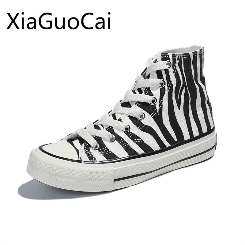 High Top Women's Canvas Shoes Zebra Pattern New Style Women's Casual Shoes High Top Female Sneakers