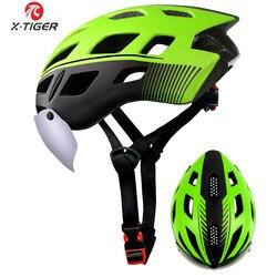 X-TIGER qualidade superior capacete de ciclismo eps inseto net estrada mtb bicicleta capacete à prova de vento 2 lentes integralmente moldado capacete de ciclismo