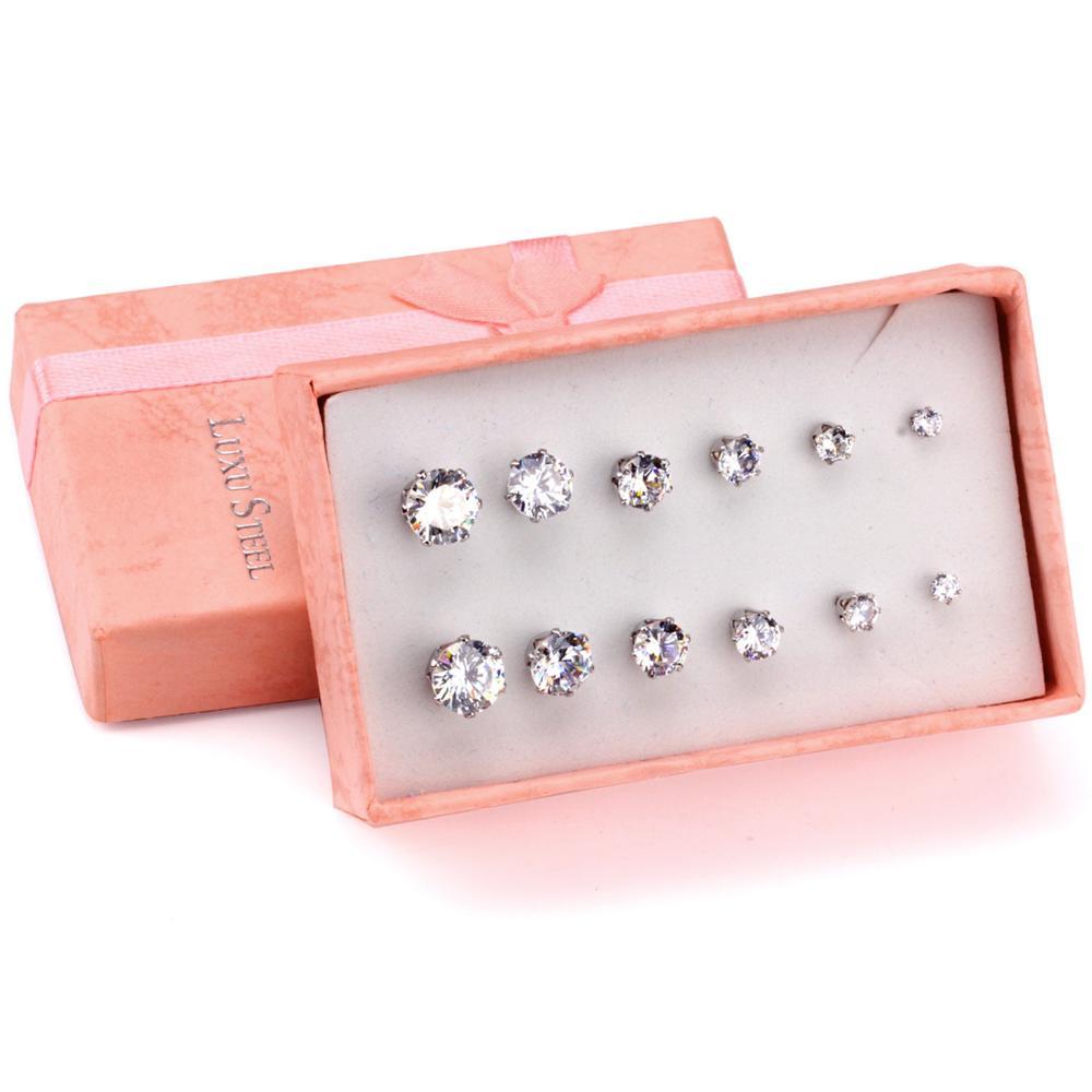 LUXUSTEEL Runde/Platz Zirkonia 6 paar/schachtel Ohrring Set Bunte BirthStone Push Zurück Bolzen Ohrringe Bijoux pendientes