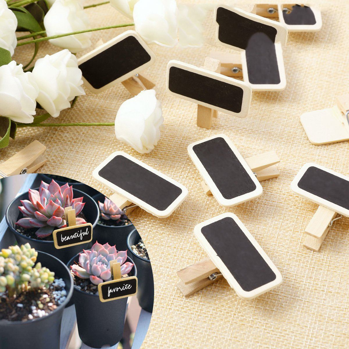 Gran oferta 50 Mini pizarra de madera para mensajes pizarra clip rectangular clip panel tarjeta etiqueta para notas marca precio lugar número Mesa