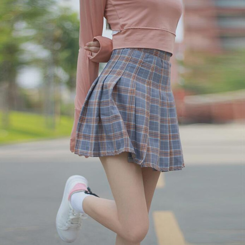 2018 new Japanese soft sister lattice skirt high waist pleated skirt was thin student A-Line skirt