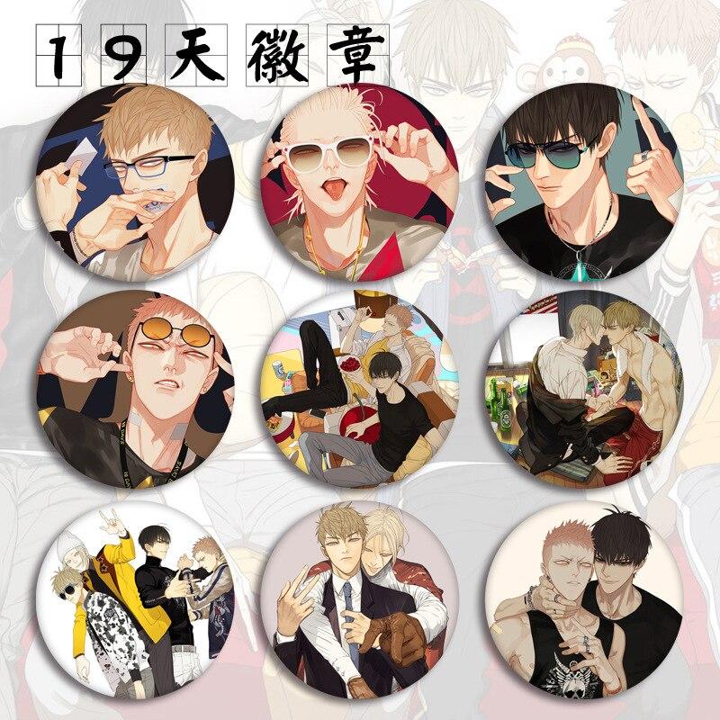 19 días personajes de Anime modelo broche Pins Broches ronda hojalata insignia para Fans regalo niños juguete