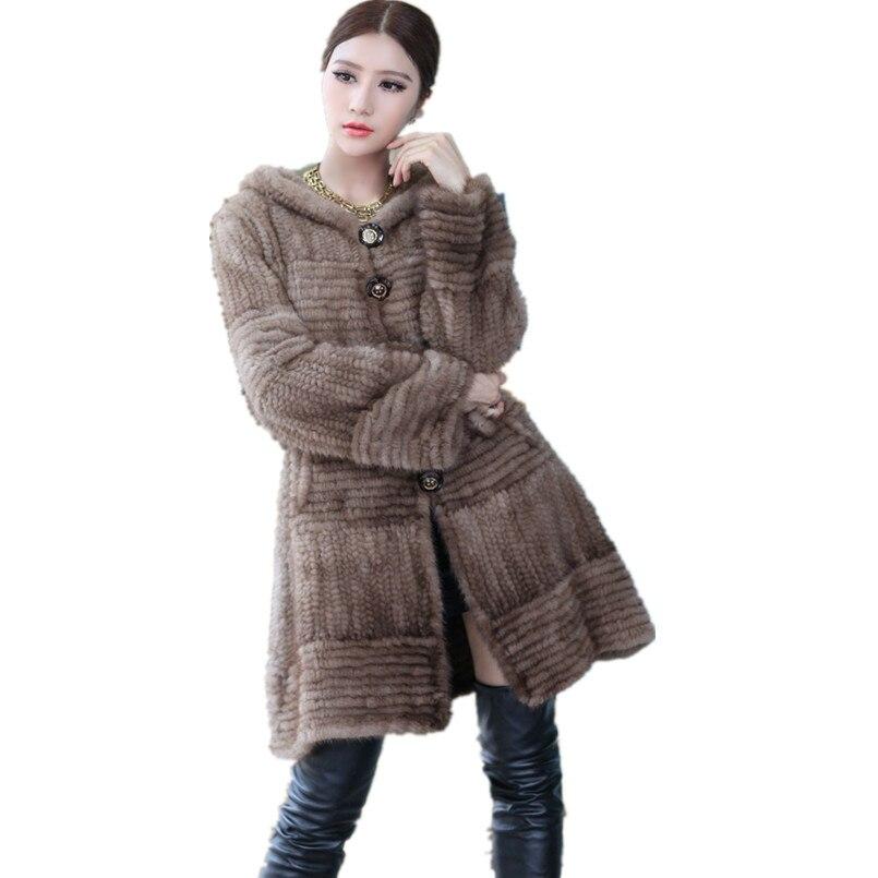 معطف فرو المنك الأصلي المحبوك للنساء ، فاخر ، خريف ، شتاء ، دافئ ، رمادي ، بني ، أسود ، غير رسمي ، طويل ، مع حزام ، K201