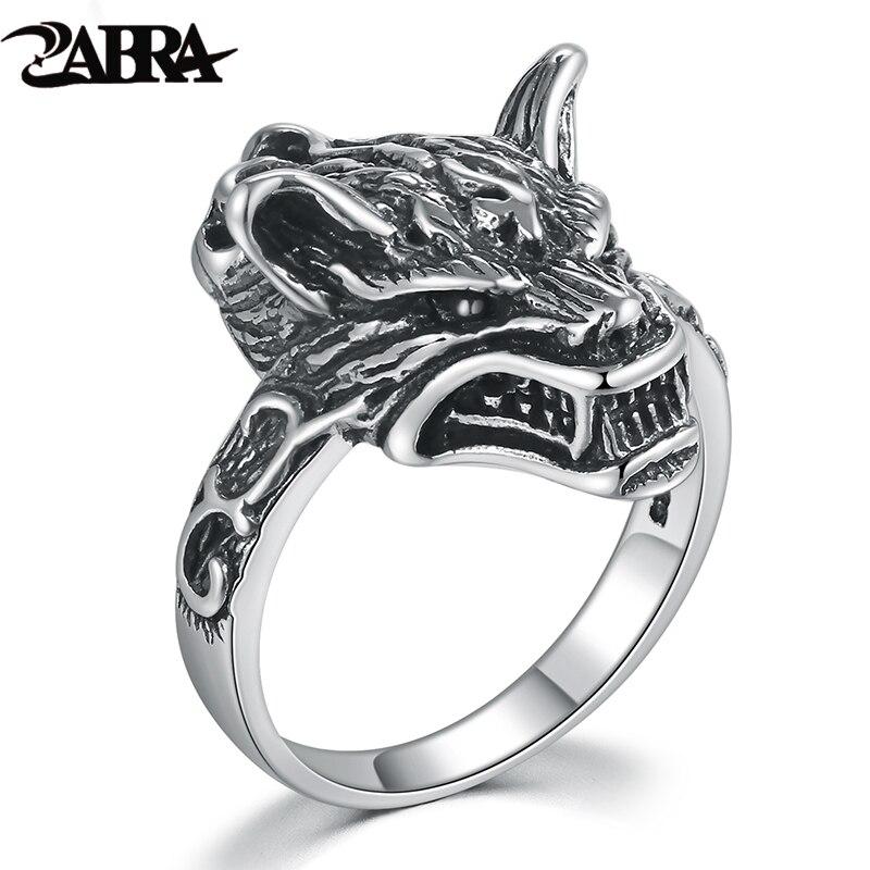 Zabra legal 925 prata anel feminino retro lobo preto animal pequenos anéis para homens do vintage punk gótico jóias esterlinas