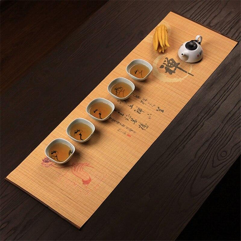 Bamboo Curtain Plate Mat Japanese Kung Fu Tea Ceremony Insulation Pad Zen Culture Bamboo Curtain Splint Foldable Table Runner