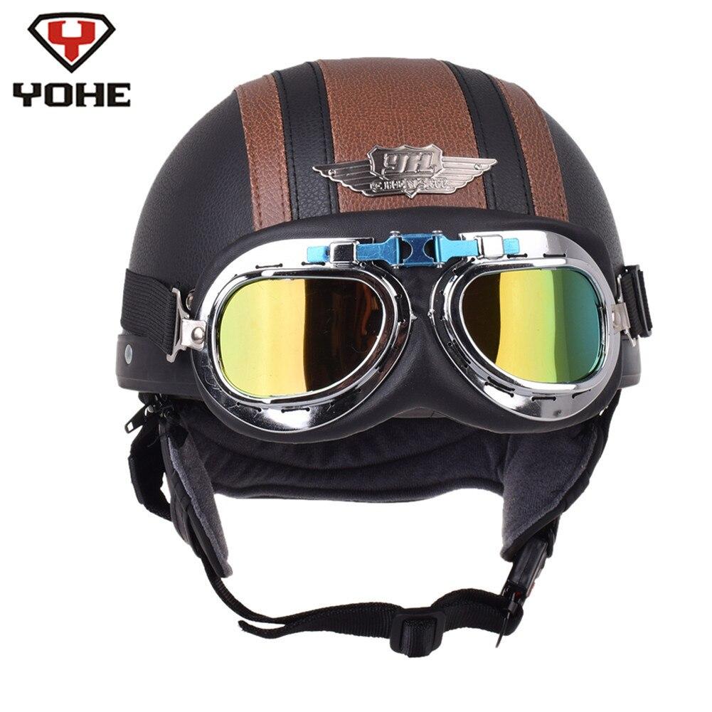YOHE Casco De motocicleta De cuero Retro Pilot Chopper medio Casco moto capacetes De Motociclista Kask Vintage