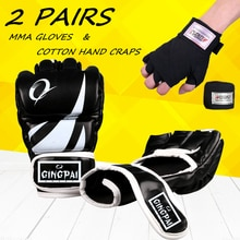 Gants de boxe epais adultes mmaglove demi doigt Sanda Taekwondo combat MMA sandbaggant équipement dentraînement professionnel + 1 cadeau