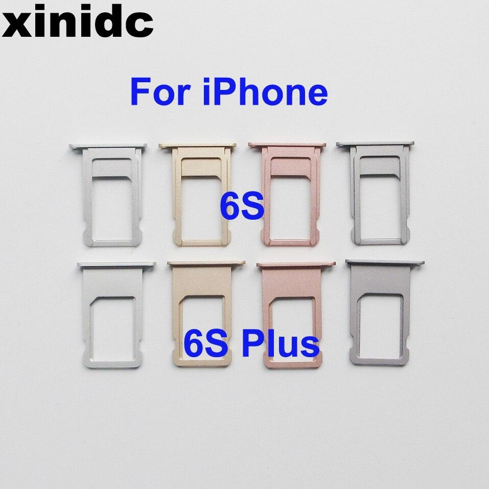 Xinidc 50 قطعة حامل بطاقة SIM صينية آيفون 6S 6S زائد رمادي روز الذهب الفضة الذهب سيم حامل صينية إصلاح أجزاء