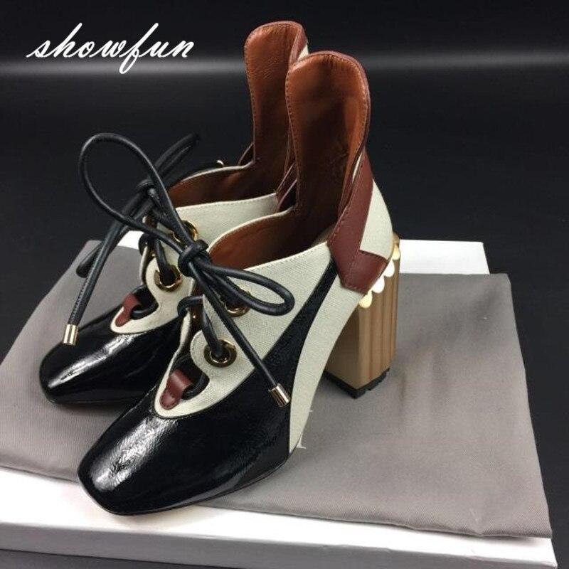 Zapatos Punk de alta calidad de tacón alto grueso de diseñador de marca con cordones de retales de cuero genuino para mujer