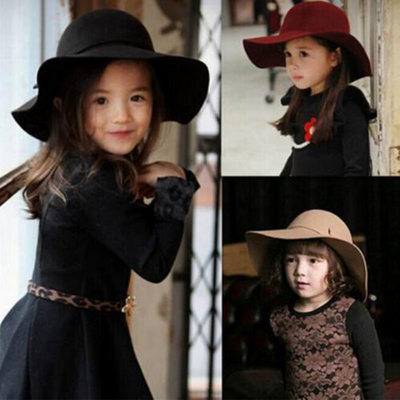 2017 HOT! summer Kids Floppy Hat chapeu feminino Soft Vintage Wide Brim Wool Felt Fedora Hats Floppy Cloche Child Boy Girl Hats