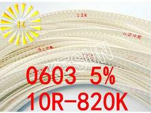 75valuesX100pcs = 7500 sztuk 0603 Rezystor SMD zestaw do zestawu 10R-820K ohm 5% zestaw próbek torby na próbki bezpiecznik