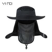 YIFEI Большая водонепроницаемая Панама с широкими полями, новая летняя ветрозащитная шляпа от солнца SPF 30 +, рыболовная шляпа с УФ-защитой, Рыба...