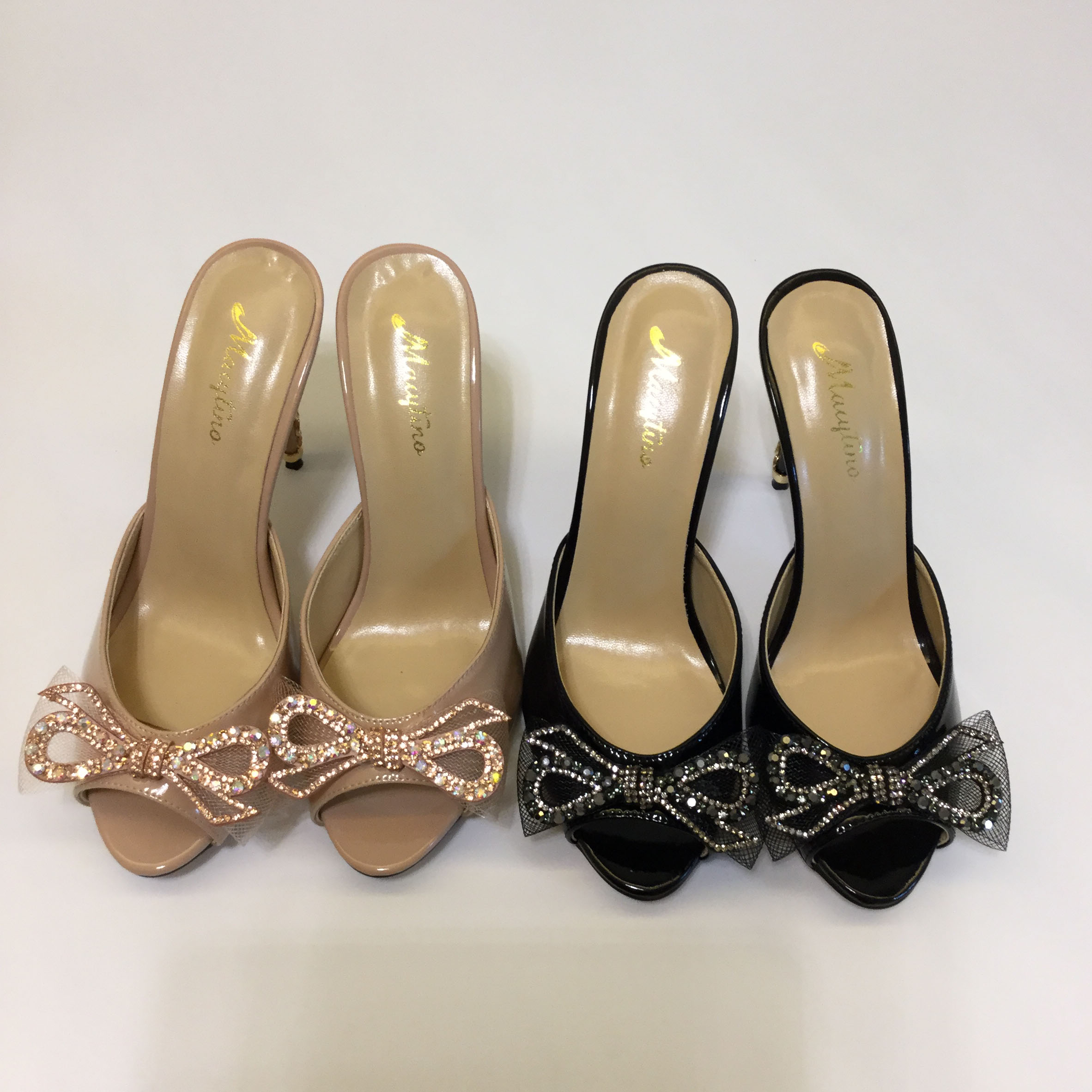 Macytino Nude Black Flower High Heel Dress Mules Open Toe Beading Bowtie Summer Slides Plus Size Shoes Women