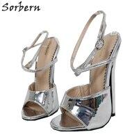 Sorbern Metallic Silver Women Sandal High Heels 18Cm Stilettos Ankle Strap Heels Sexy Fetish Shoes Summer Style Slingback Sandal