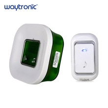 220V Waterproof Wireless Electric Ding Dong Door Bell with Temperature Digital Display Big Doorbell Button