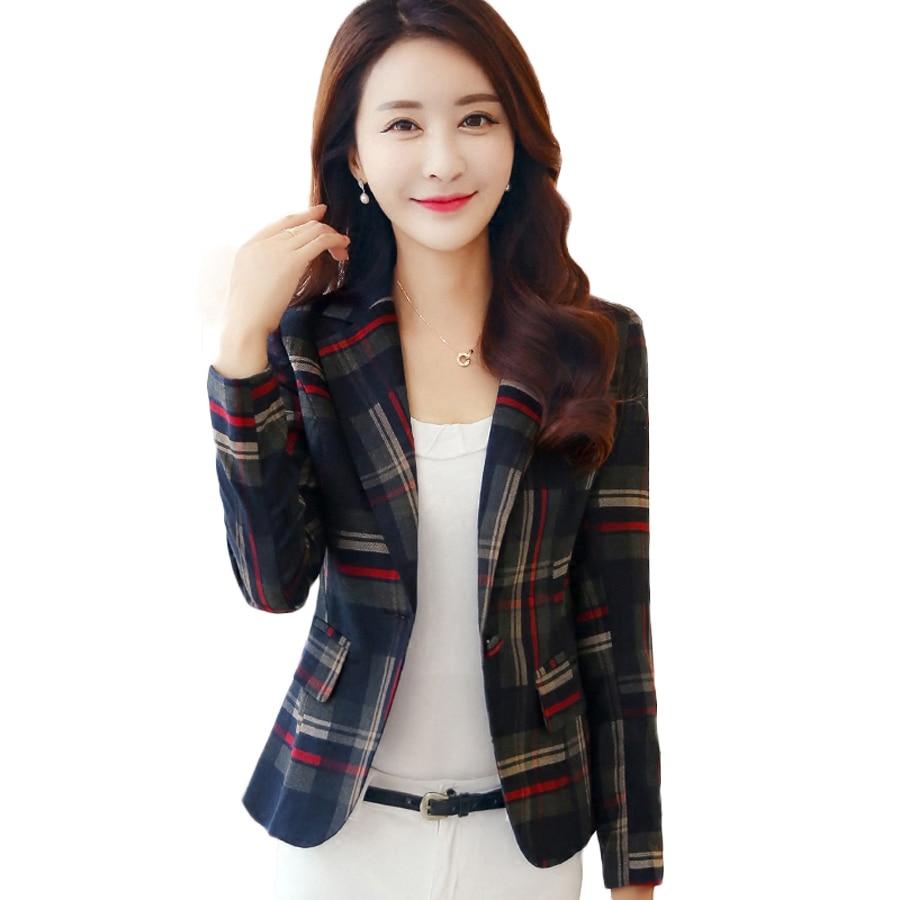 2018 chaqueta de Tweed a cuadros corta para mujer, abrigos de invierno a rayas para mujeres, chaquetas coreanas de gran tamaño para damas, abrigo de Checkerboard 15J119E