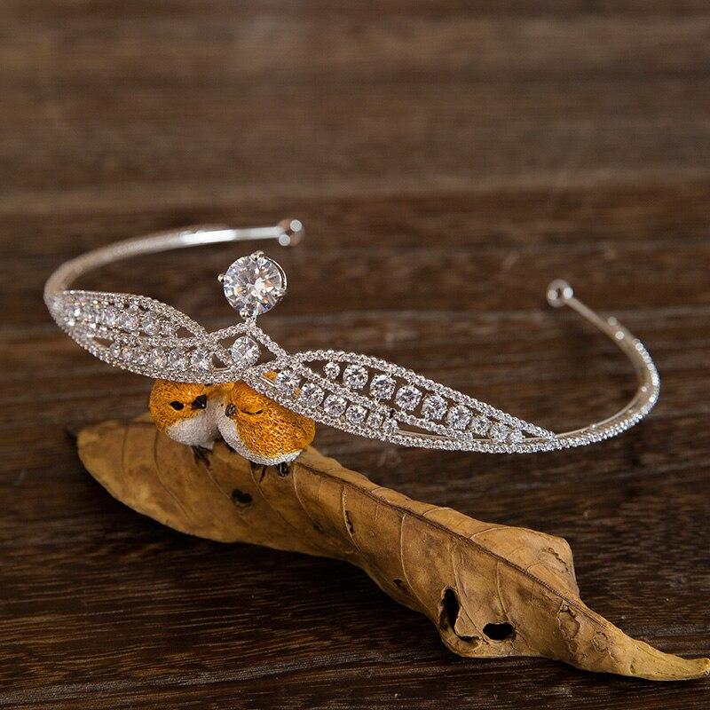 Luxury Zircon Bridal Crown Silver Plated Crystal Tiaras Noble Rhinestone Diadem Tiara Bride Hair Clips Wedding Hair Accessories