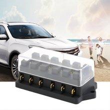 Universal 12 v 6 way caixa de fusível bloco fusível titular caixa carro veículo circuito automotivo lâmina fusível ferramenta acessório