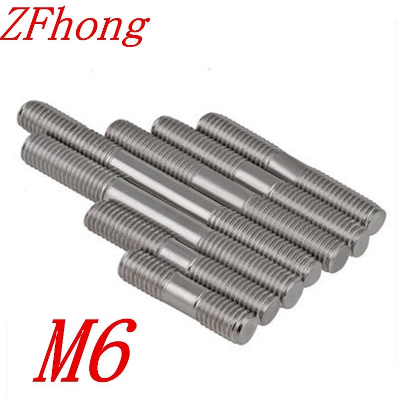 20 unids/lote M6 M6 x L pernos de varillas roscados de doble extremo de acero inoxidable de 20mm a 200mm de longitud