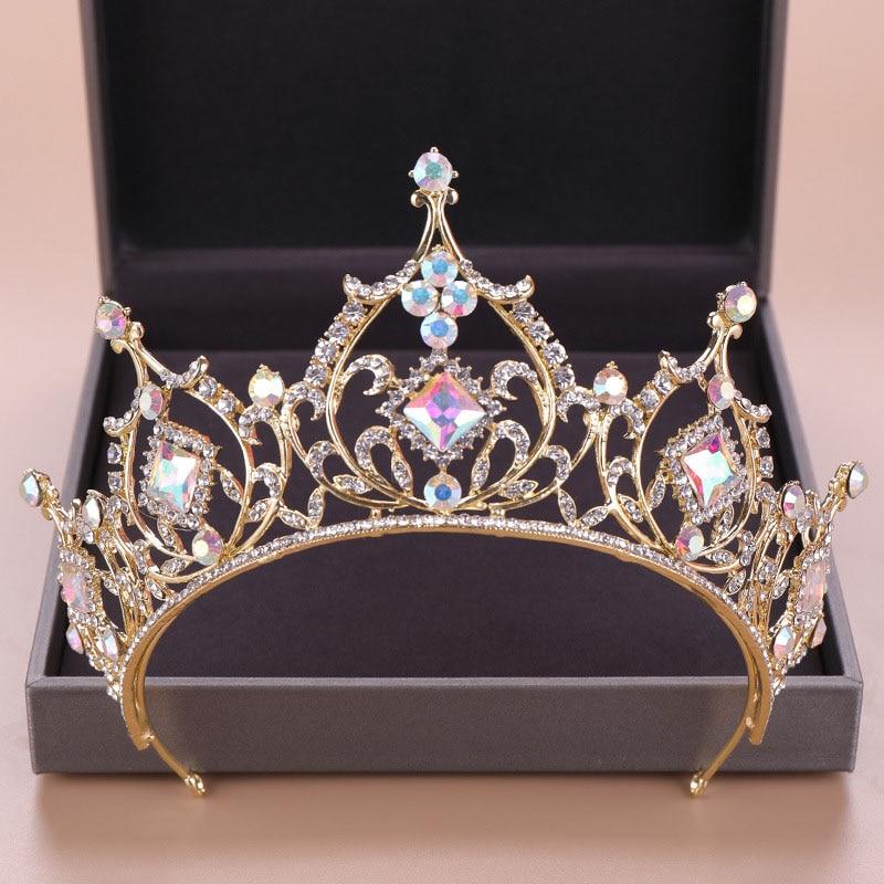 FORSEVEN Gold Color Diadem Bridal Hair Jewelry Crystal Beads Tiaras Rhinestone Crown Headpiece Women Wedding Hair Accessories JL