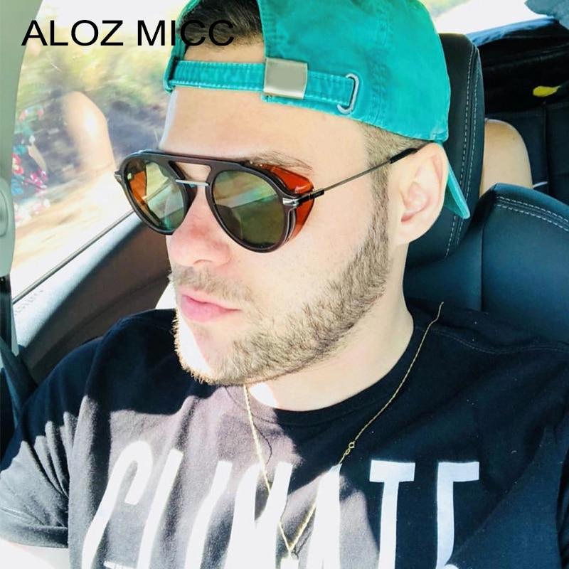 ALOZ MICC SteamPunk Sunglasses Men Round Designer Punk Metal SUNGLASSES Women Oculos Retro Punk Eyewear UV400 Q169